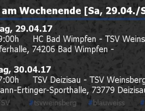 Die Ergebnisse vom Wochenende [Sa, 29.04./So, 30.04.]